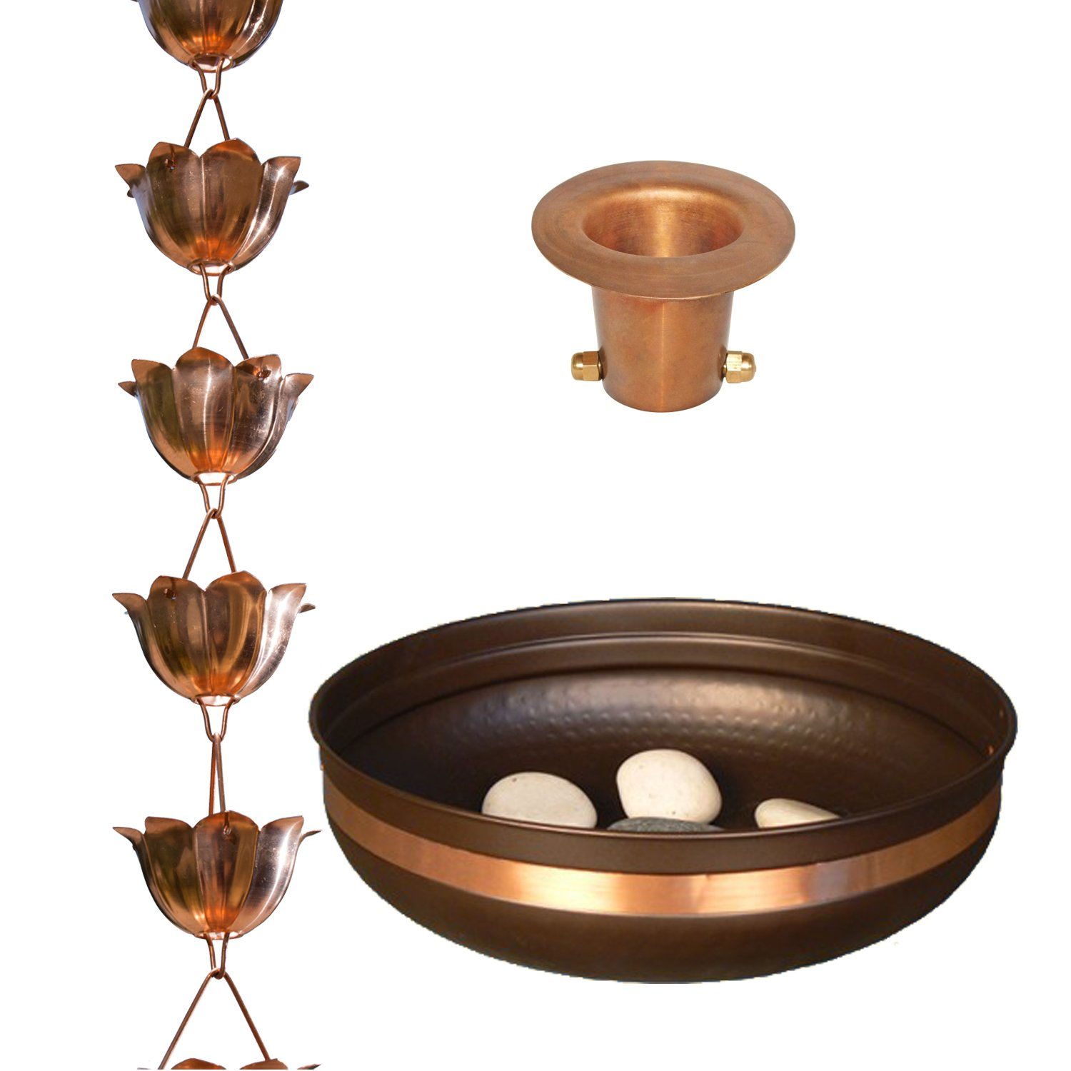 Monarch Pure Copper Lotus Rain Chain Bundle (with Copper Banded Mild Steel Basin and Copper Gutter Reducer for Installation)