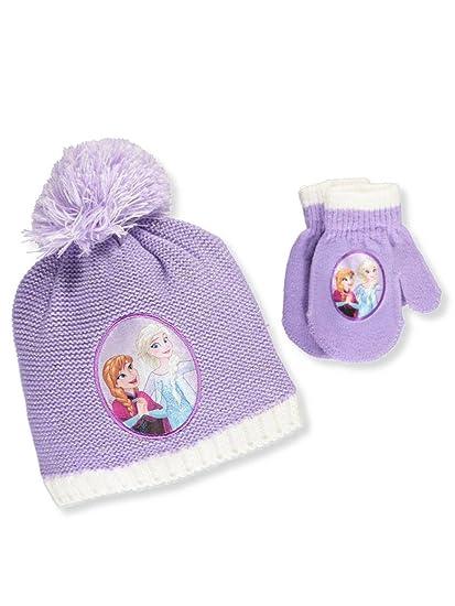 Amazon.com  Disney Frozen Elsa Anna Girls Beanie Hat and Mittens Set (Lilac)   Clothing 924ee912ba9