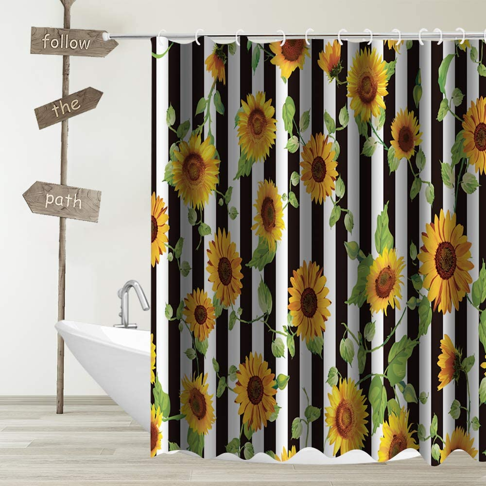 Sunflower Shower Curtain Decor,Spring Floral Black and White Stripes Yellow Flower Green Leaves Nature Fabric Bathroom Curtains,Waterproof Polyester Bath Curtain Set with Hooks 70x70 Inch
