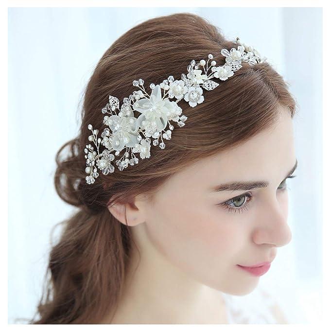 White Pearl Bead Hair Vine Bridal Headpiece Headband Wedding Silver Clip 3332