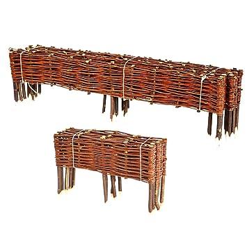 BooGardi Clôture en bois de saule pour bordure de plate-bande, de chemin  Plusieurs dimensions 20 x 120 cm 10er Set naturel