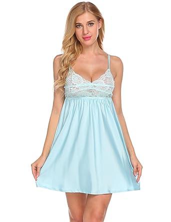 49793448fb FANEO Women Satin Chemise Nightgown Lace Trim Nightie Nightdress Sleepwear  (Light Blue