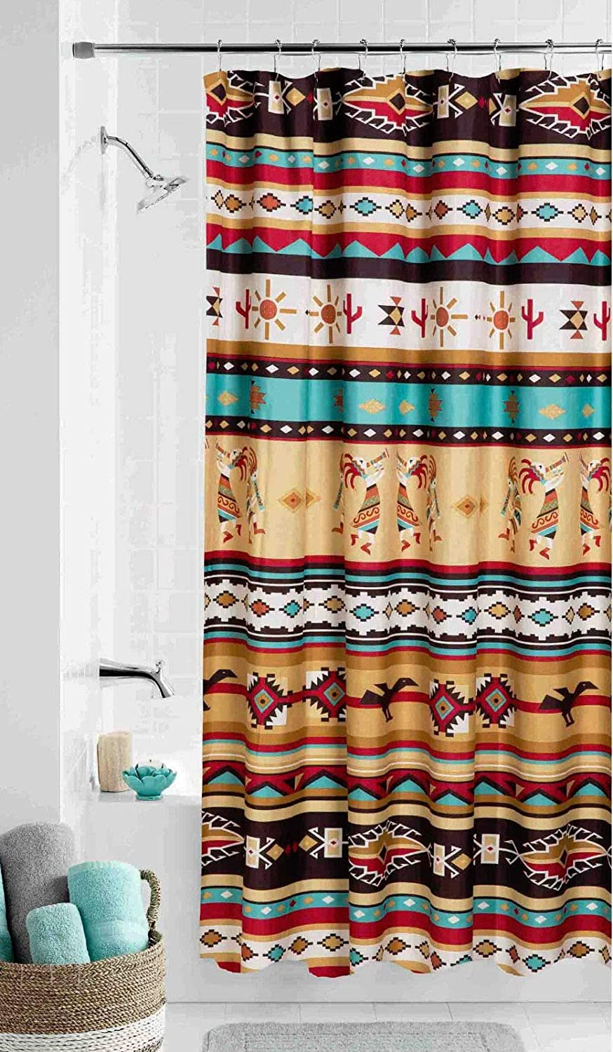Southwest Kokopelli Fabric Shower Curtain Southwestern Aztec Bath