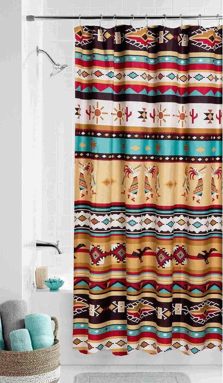 Southwest Kokopelli Fabric Shower Curtain Southwestern Aztec Bath