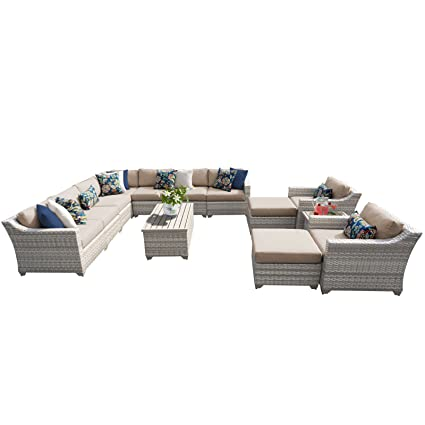 Fairmont Patio Furniture.Amazon Com Tk Classics Fairmont 13a Wheat 13 Piece Outdoor Wicker