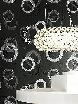 Rasch Papier Peint Moderne 790849 Salon Motif Cercles Gris Noir