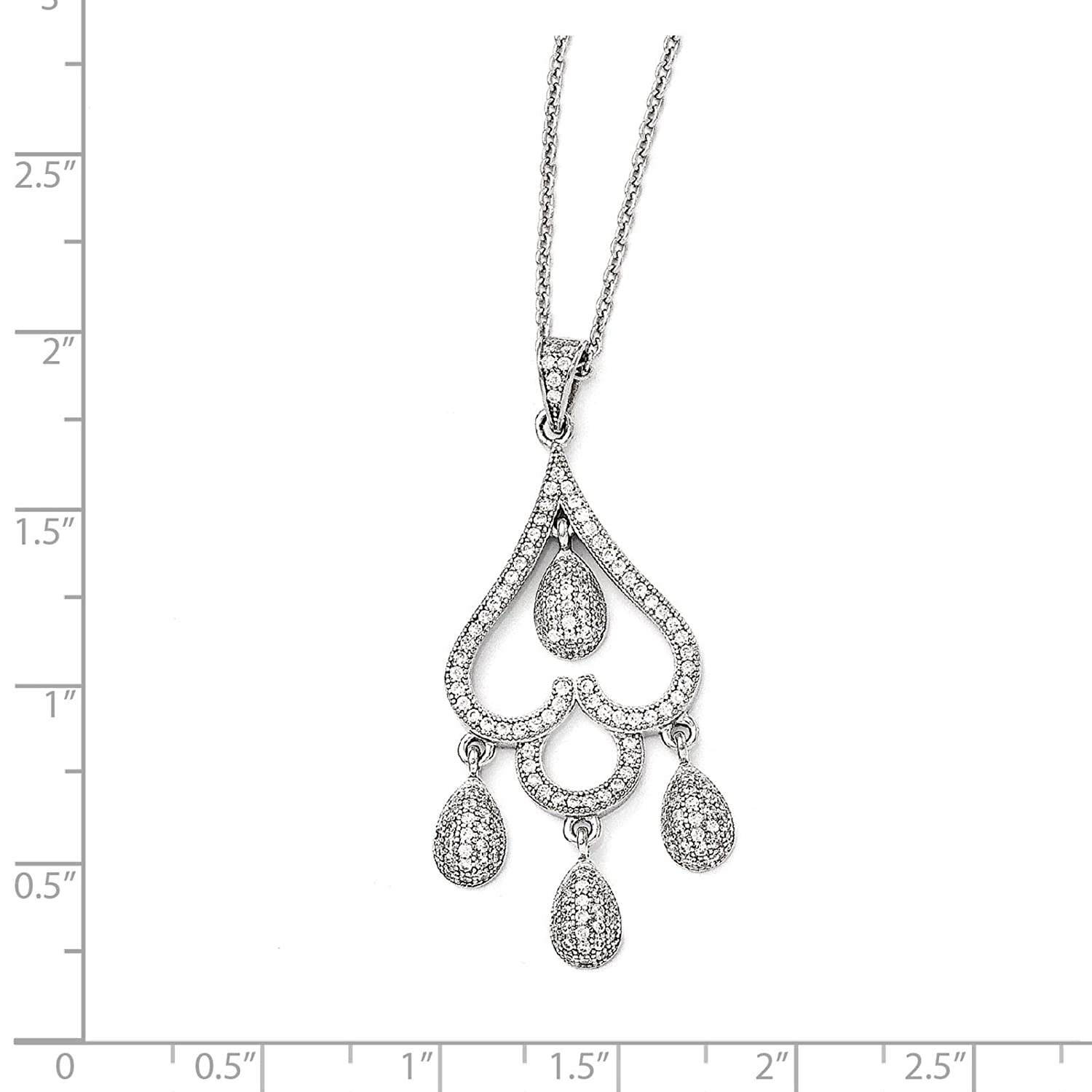2 Extender Brilliant Embers Sterling Silver Rhodium-plated CZ Heart w//Teardrop Pendant Necklace 18