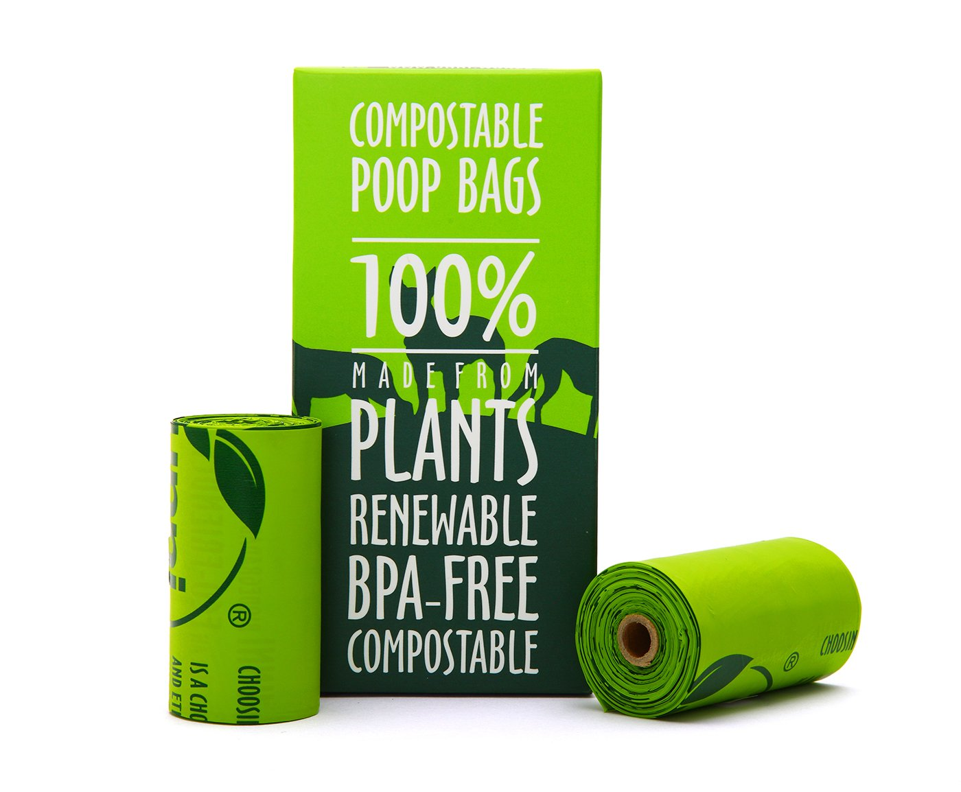 """Unni 100% Compostable Biodegradable Dog Waste Poop Bags, 120 Count, 8 Refill Rolls, Size 9"""" X 13"""", Extra Thick 0.8 Mils, US BPI & European VINCOTTE Certificated,Earth Friendly Highest ASTM D6400 Rated"""