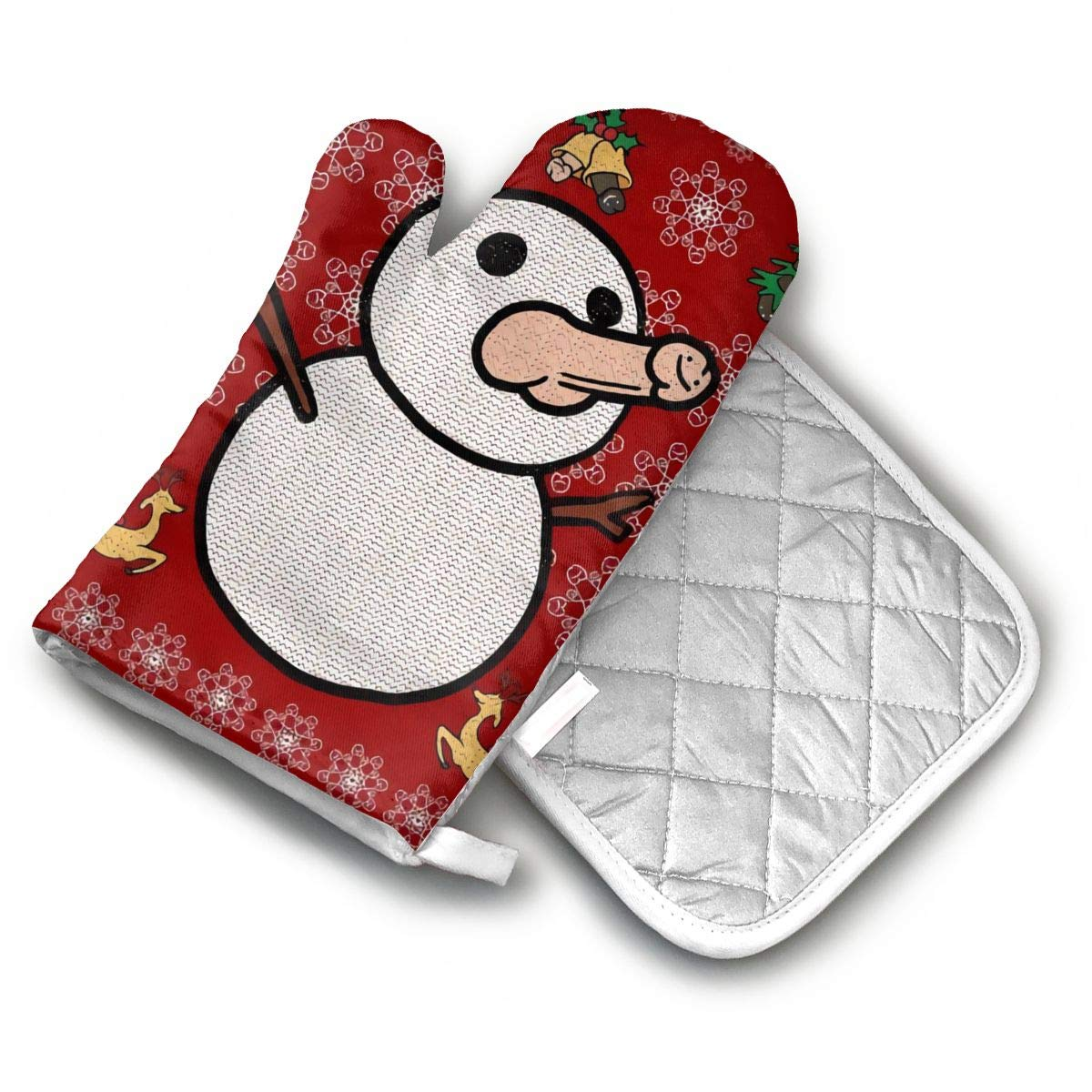 AISDHAJKSD Christmas Penis Snowman Sweater Premium Terylene/Nylon Oven Mitts and Pot Mat,Pot Mat/Hot Pads, Heat Resistant Gloves BBQ Kitchen