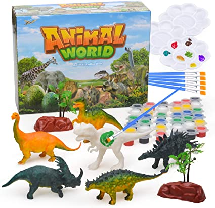 CNMF 60 PCS 3D Dinosaur Toys for Kids DIY Arts Crafts and Supplies Set Painting Kit Kids Educational Set Toys 4 5 6 7 8 Years Old Boys and Girls Party Toys