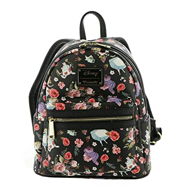 Amazon.com  Loungefly X Alice in Wonderland Character Floral Print Mini- Backpack  Clothing