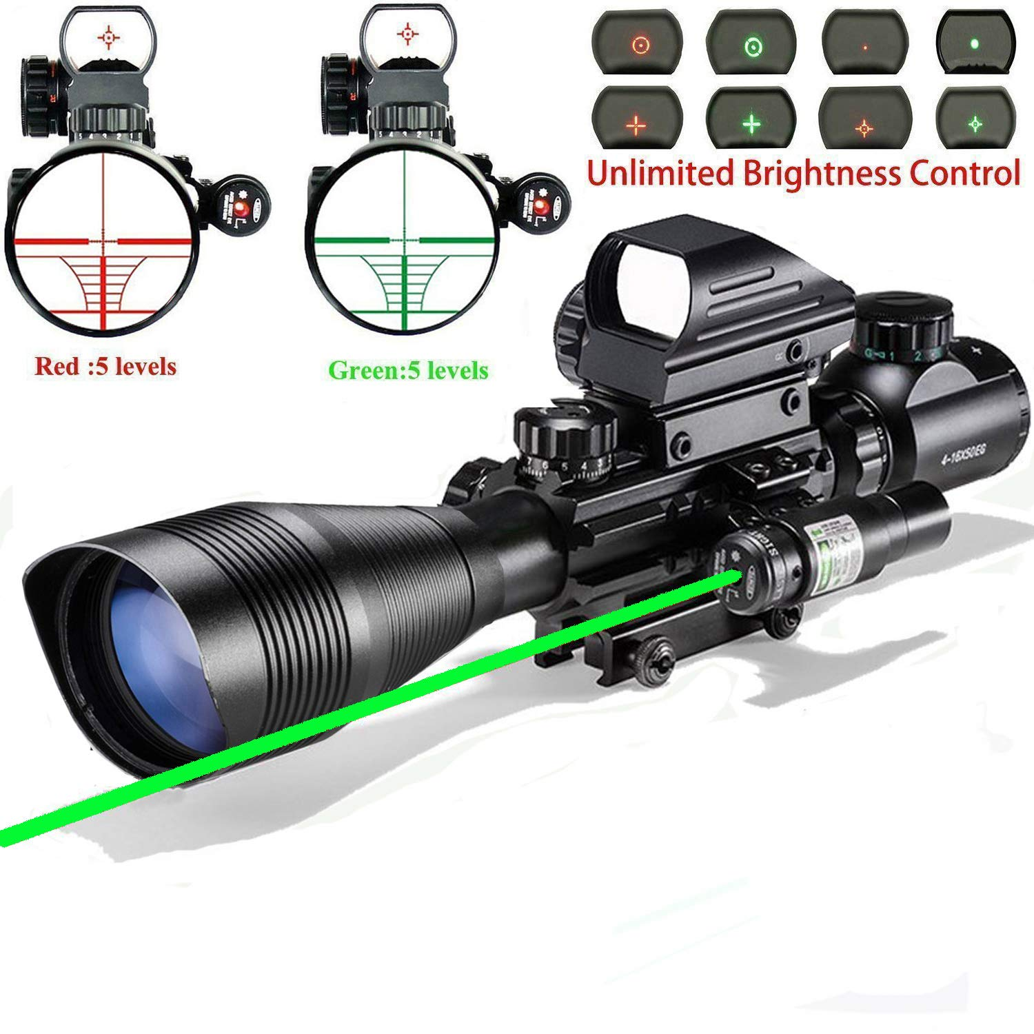 Scope Combo C4-16x50EG with Laser and 4 Holographic Red&Green Dot Sight by XopingABC