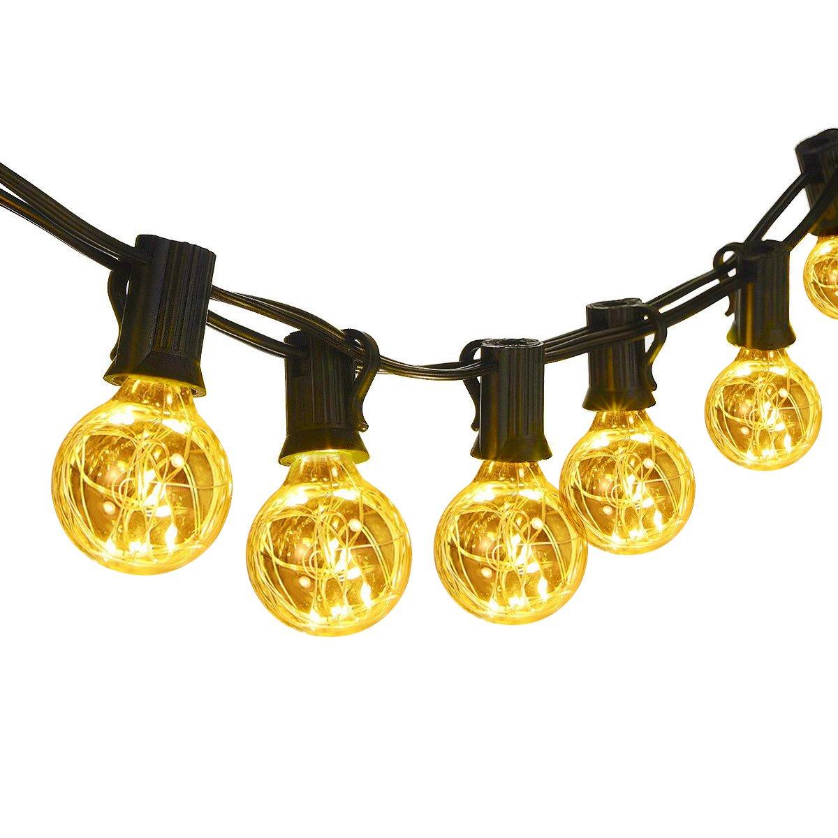 Classyke 25ft G40 LED Globe String Lights for Indoor Outdoor Patio Cafe Bistro Deck Party Wedding Gazebo Backyard Bedroom Weatherproof Linkable [UL Listed]