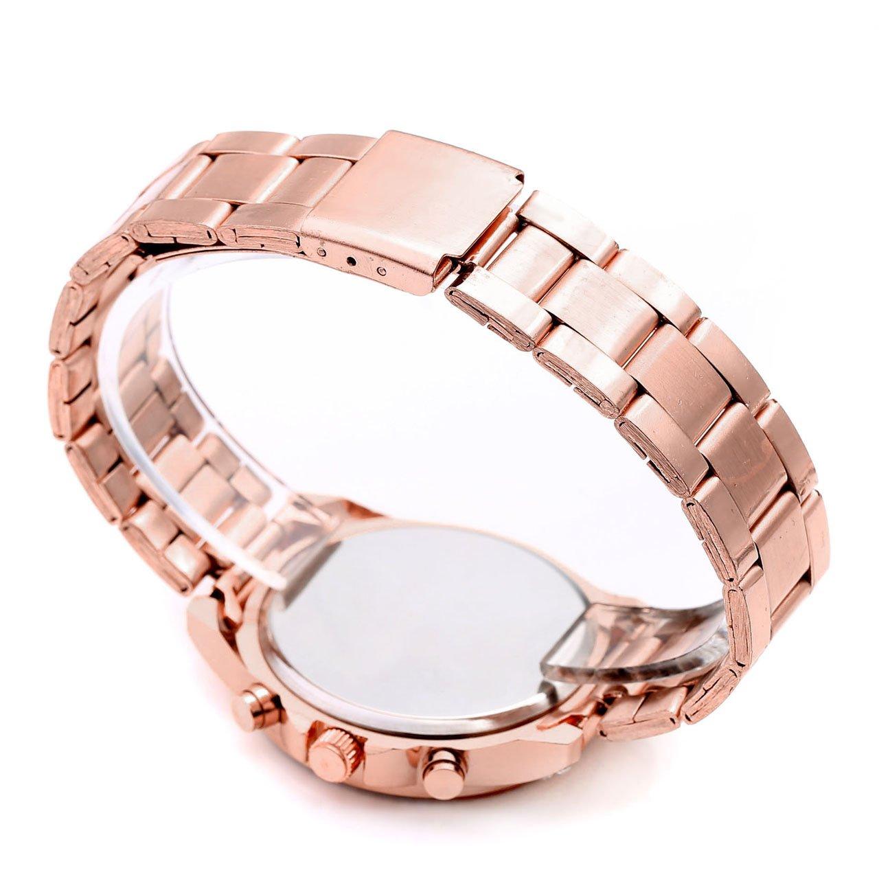 JSDDE Les femmes exquis cristal de luxe strass cristal Montre acier inoxydable bracelet faux Chronographe Quartz Analog Montre(Or Rose)