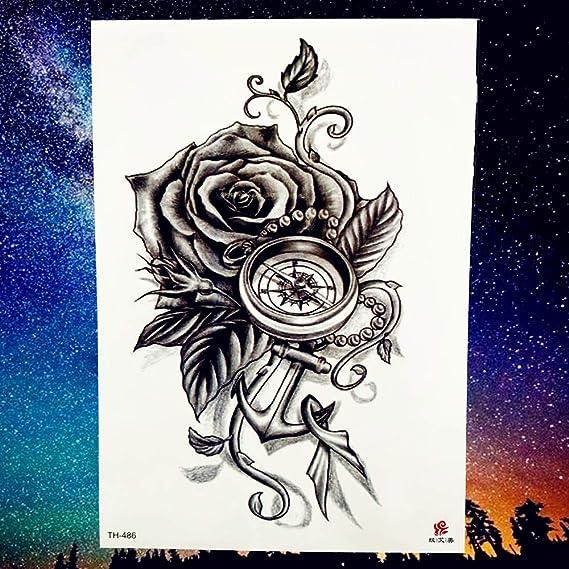 tzxdbh 2 Unids Reloj Reloj de Bolsillo Rose Hojas Tatuaje Temporal ...