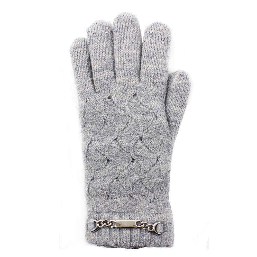 LL- Womens Warm Winter Knit ID Bracelet Fashion Gloves, Fleece Lined (Bracelet Gray)