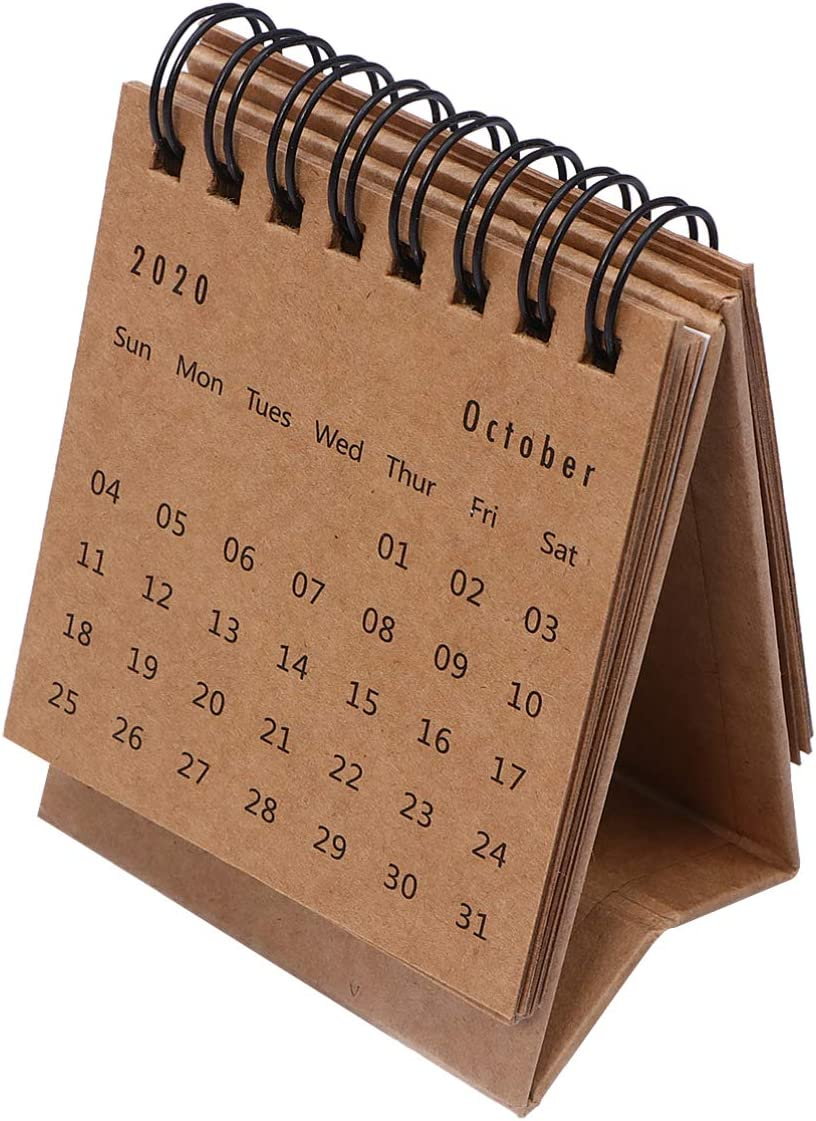 TOYANDONA July. 2020 to Dec. 2021 Desk Calendar Mini Desktop Standing Flip Monthly Calendar for School Home Office Schedule Planner (Kraft Paper Color)