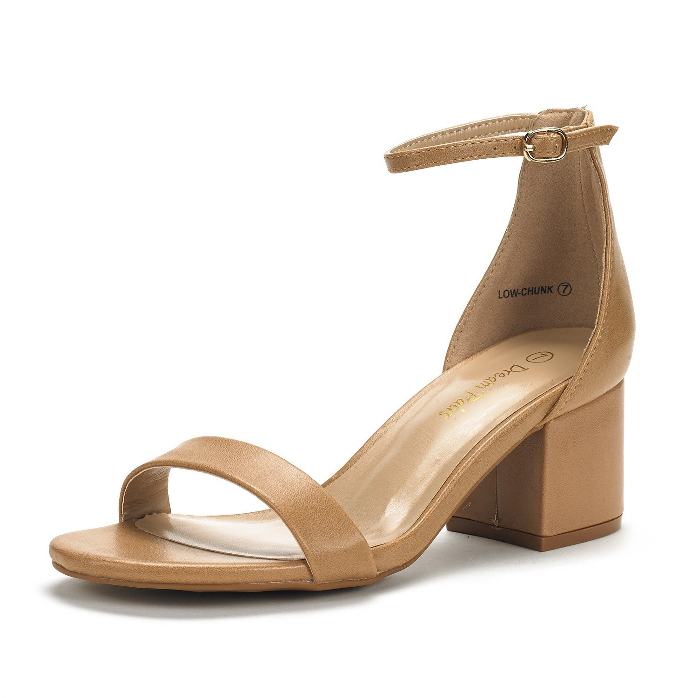 DREAM PAIRS Women's Low-Chunk Nude Pu Low Heel Pump Sandals - 7.5 M US