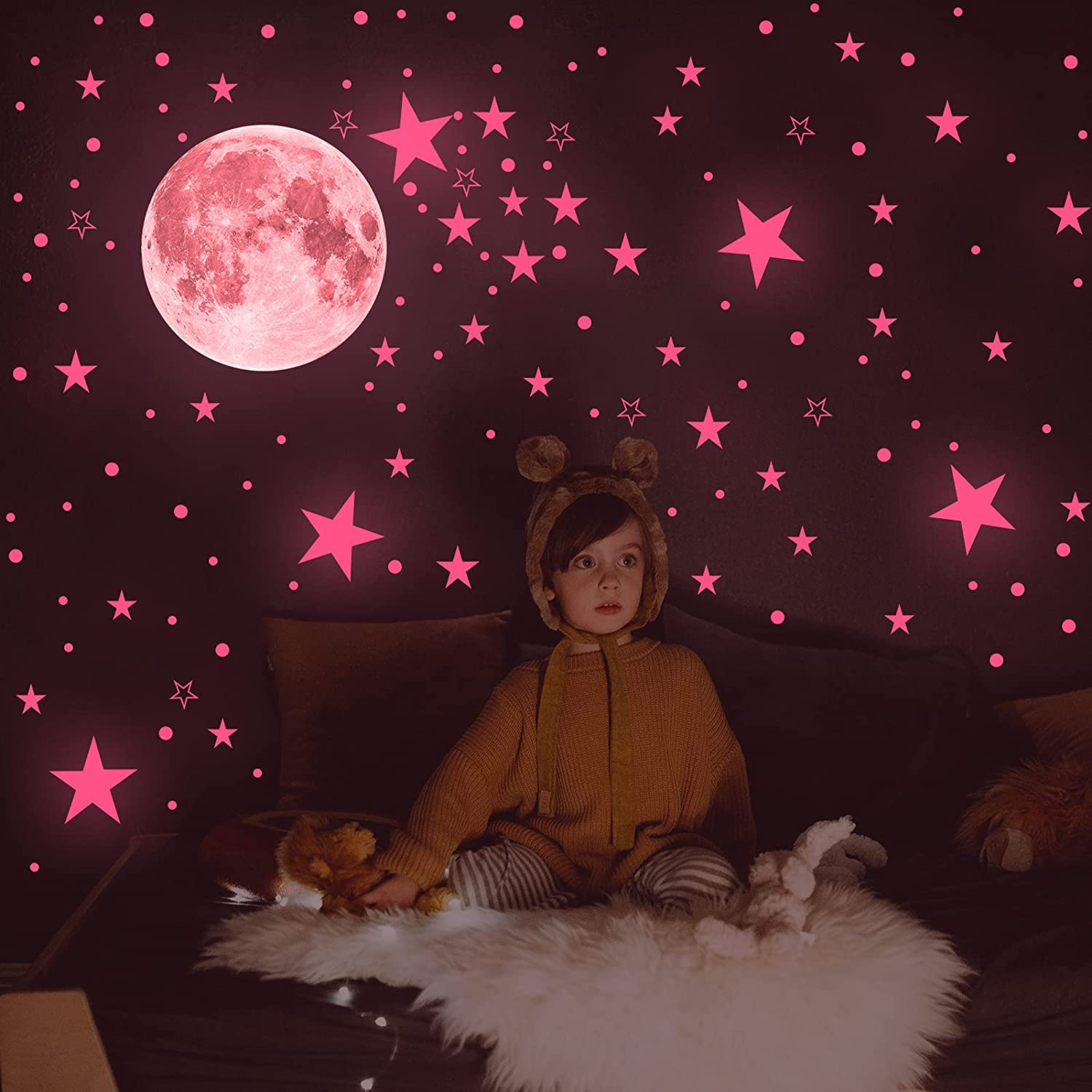 Glow in The Dark Stars for Ceiling - AIRXWILLS Pink Glow in The Dark Star Stickers for Girls , Ceiling Stars for Kids Room Decor, Aesthetic Room Decor.