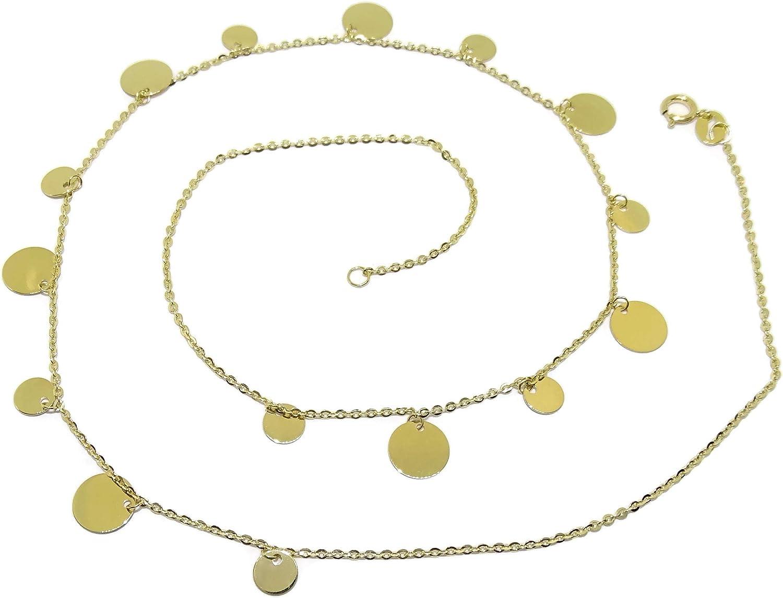 Never Say Never Gargantilla de Oro Amarillo de 18k con circulos de Oro Liso y 45cm de Larga