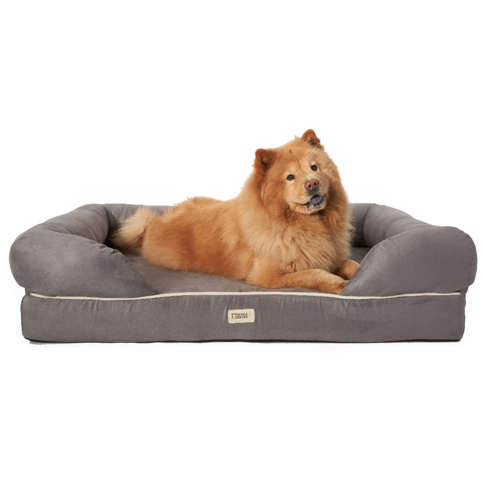 Friends Forever Orthopedic Dog Bed Lounge Sofa Removable Cover 100% Suede 4'' Mattress Memory-Foam Premium Prestige Edition 40'' x 50'' x 13'' Pewter Grey XXL