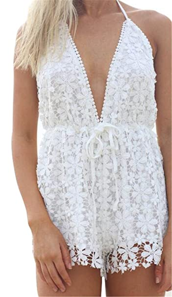 Haroty Mini Cortos Vestidos Encaje Jumpsuit Shorts Dress Tirantes Backless Escote V para Mujeres Verano Playa Cocktail Fiesta Noche: Amazon.es: Ropa y ...