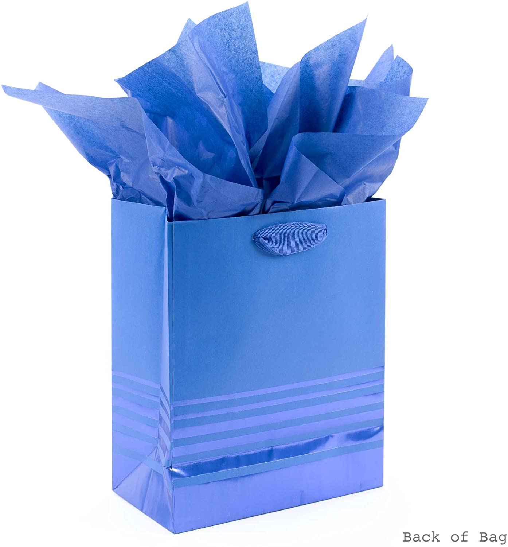 "Set of 4-12/"" x 12/"" Hallmark Blue Printed Gift Bags"