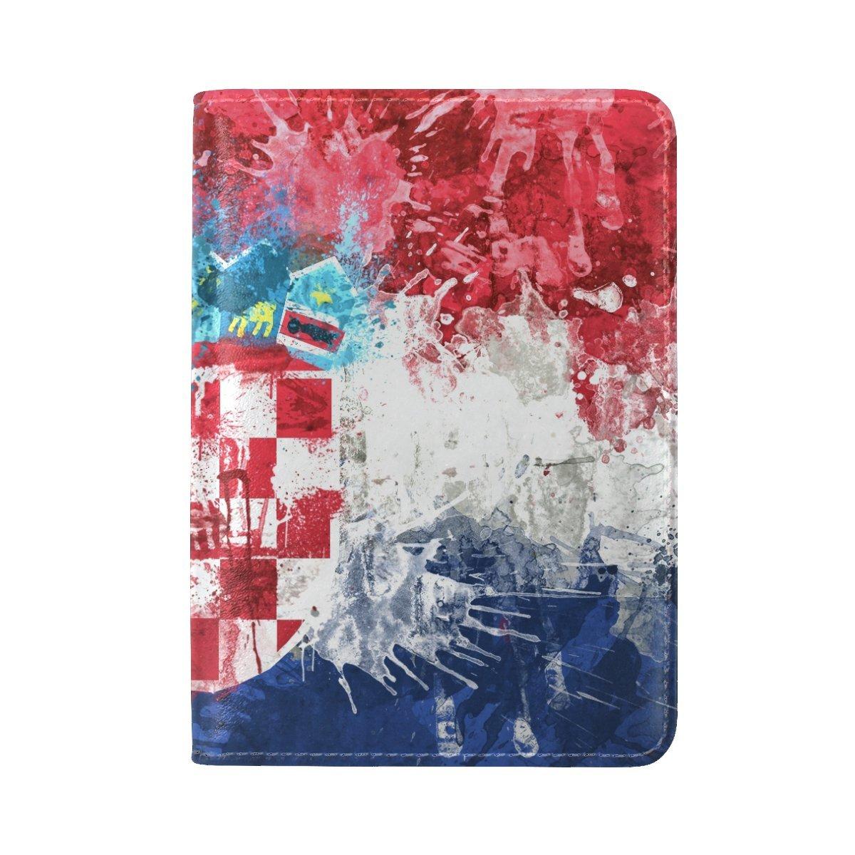 Croatia Flag Republic Background Texture Paint Coat Leather Passport Holder Cover Case Travel One Pocket