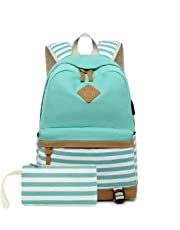misognare Girls Canvas School Backpack with USB Charging Port Casual Stripe Backpack for Teen Boys