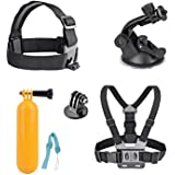 AKASO 7 in 1 Sports Action Camera Accessory Bundle Kits For Gopro Hero AKASO EK7000 EK5000 Sports Camera - Head Strap Chest Belt+ Folating Mount + Auto Suction Cup