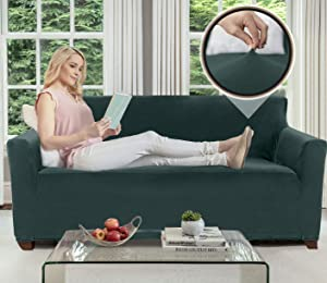Gorilla Grip Original Velvet Fitted 1 Piece Small Sofa Slipcover, Stretch Up to 62 Inches, Soft Velvety Covers, Luxurious Slip Cover, Spandex Sofa Furniture Protector, with Fasteners, Hunter Green