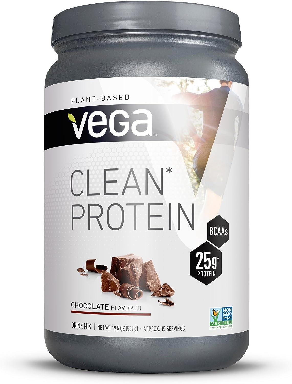 Vega Clean Protein Powder Chocolate 15 Servings, 19.5oz – BCAAs, Vegan, Non Dairy, Gluten Free, Non GMO