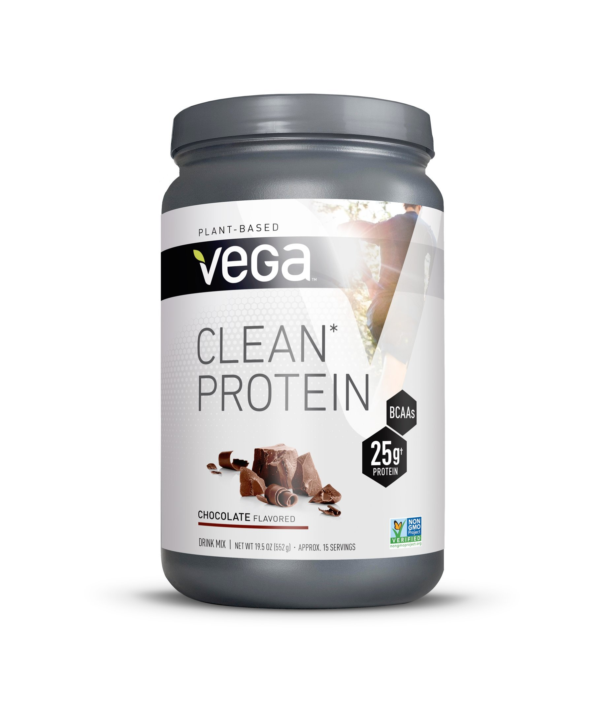 Vega Clean Protein Powder Chocolate (15 Servings, 19.5oz) - BCAAs, Vegan, Non Dairy, Gluten Free, Non GMO by VEGA