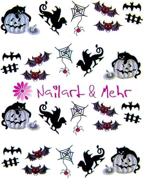 """Nail adhesivo """"Halloween, araña, araña redes, dragón, calabaza, gatos"""""""