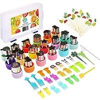 Vegetable Cutter Shapes Set, Including 18 pcs Mini Fruit Cookie Stamps Mold, 20pcs Cartoon Animals Food Picks, 20pcs…