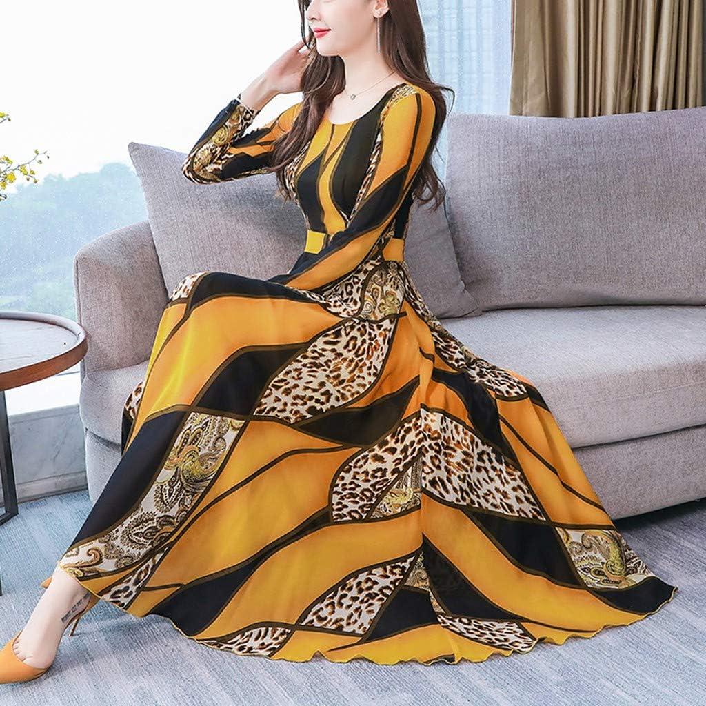 Miss Fortan Abito con Stampa Girocollo Manica Lunga Donna Vestiti Estivo Boho Abito da Cocktail Vestito da Festa di Compleanno Dance Party Dress S-3Xl