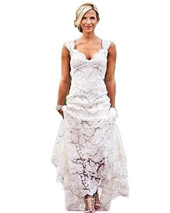 7337dfa631e JCdress Lace Country Wedding Dresses V-Neck Cap Sleeves Vintage Bridal  Gowns Beach Wedding Dress Hand-Made at Amazon Women s Clothing store