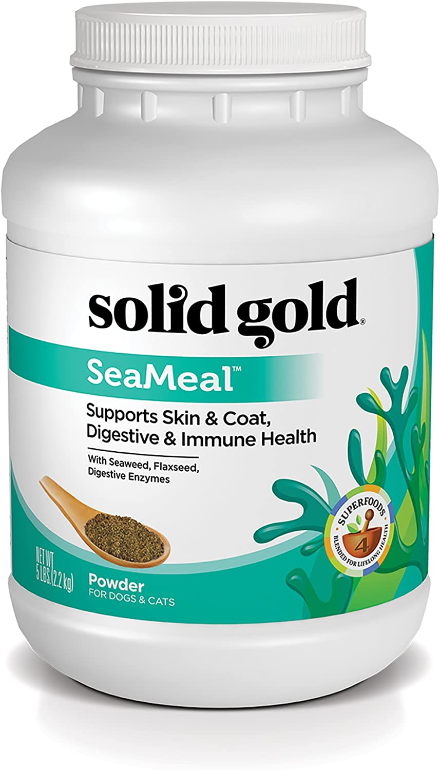 Solid Gold SeaMeal Kelp-Based Supplement for Skin & Coat, Digestive & Immune Health in Dogs & Cats; Natural, Holistic Grain-Free Supplement