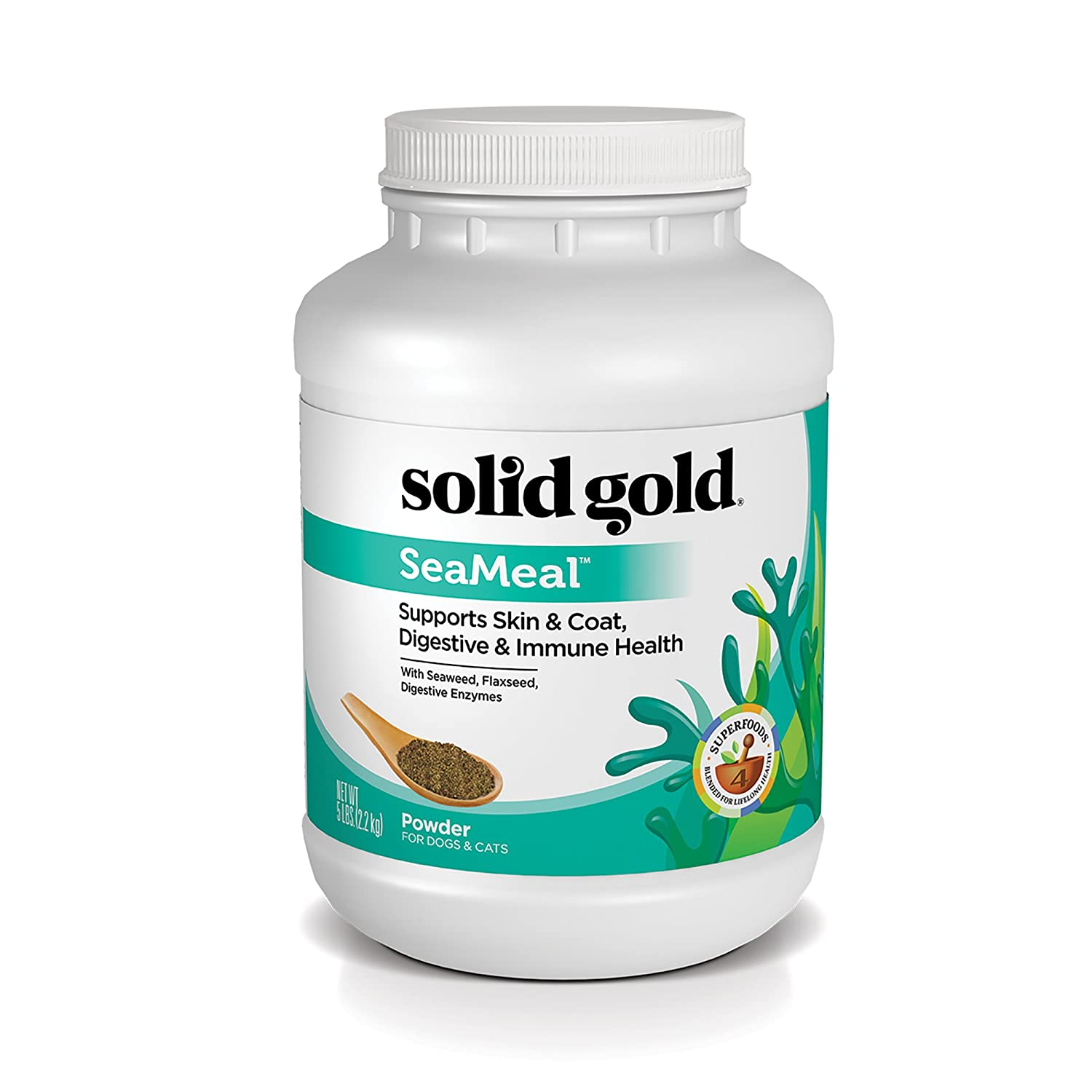Solid Gold SeaMeal Kelp-Based Supplement for Skin Coat, Digestive Immune Health in Dogs Cats Natural, Holistic Grain-Free Supplement