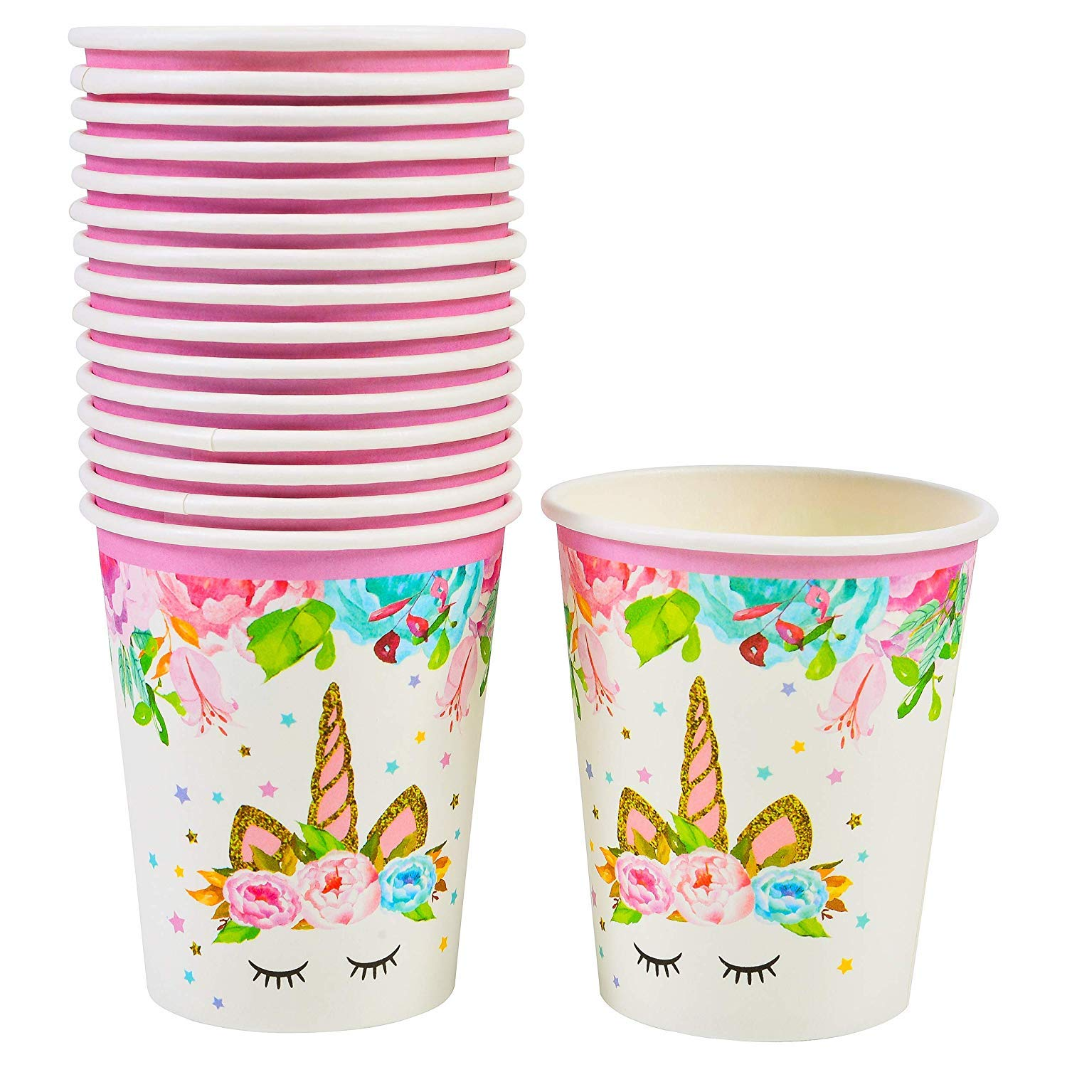 Disposable Set 16 FZR Legend Unicorn Paper Cups Unicorn Themed Party Supplies 9 oz Magical Unicorn Birthday Party Decorations for Girls and Baby Shower