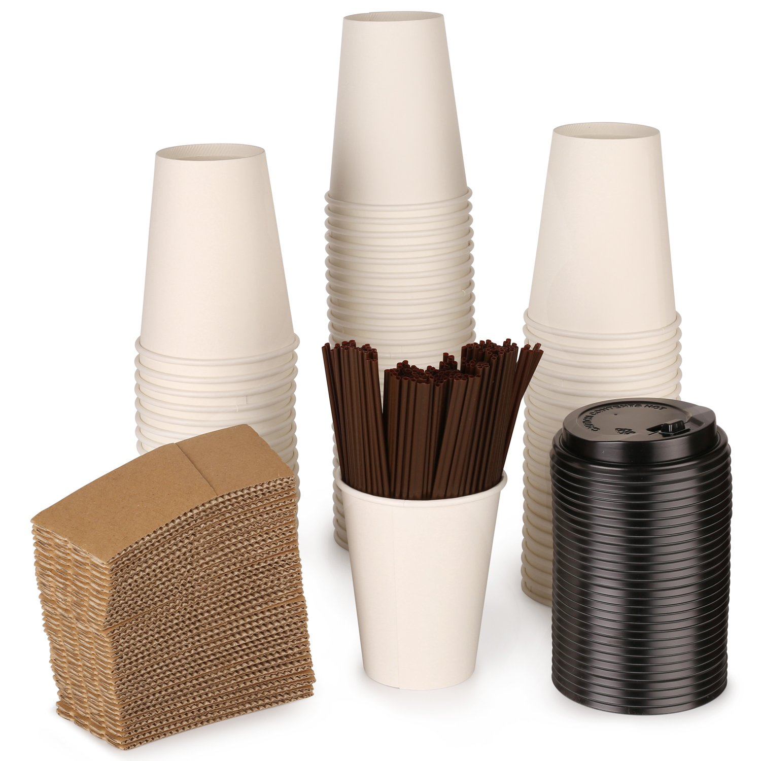 - Paper coffee Hot cups by ZTLbrand - with lids, straws and sleeves [White] 12 oz- Set of 100. Perfect for party or daily routine- Reusable and Disposable coffee cups