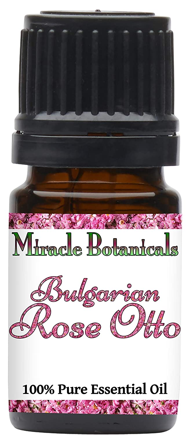 Miracle Botanicals Bulgarian Rose Otto Essential Oil - 100% Pure Rosa Damascena - 2.5ml and 5ml Sizes - Therapeutic Grade - 5ml