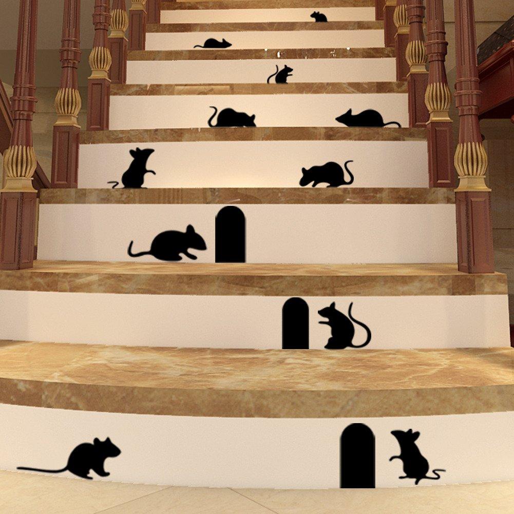 BIBITIME DIY Funny Art Graffiti Rat Hole Floor Stair Wall Stickers Art Vinyl Decal Home Decor