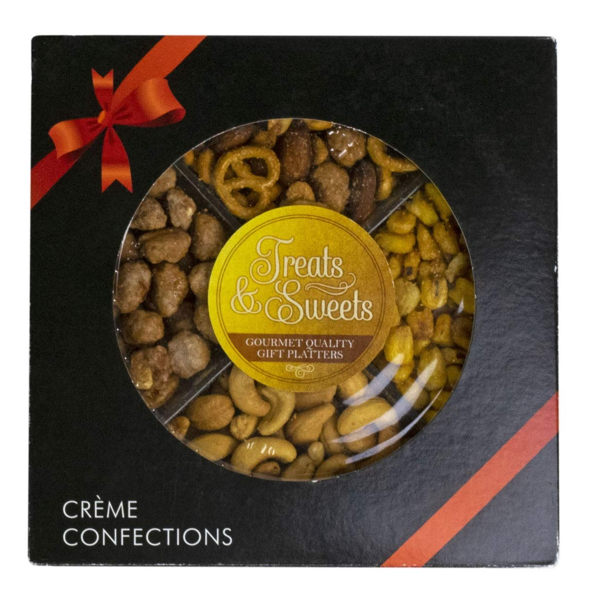 Gourmet Nut Tray ForShalach Manos, Assorted Nuts Purim Gift Basket With Bow - Includes Roasted Salted Cashews, Toffee Peanuts, Sweet and Savory Party Mix, Roasted Perfect ForMishloach Manot Basket