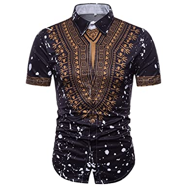 30513718 KPILP Men's Shirt Summer Casual African Style Short Sleeved T-Shirt Tops ( Black,