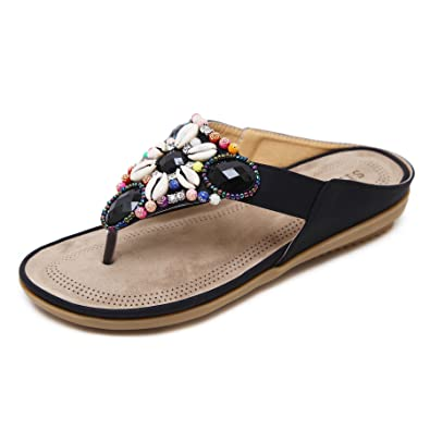 7807483ce679 LUXINYU Women Summer Thong Sandal - Bohemia Beaded Flat Slide-on Slipper Flip  Flop Shoes