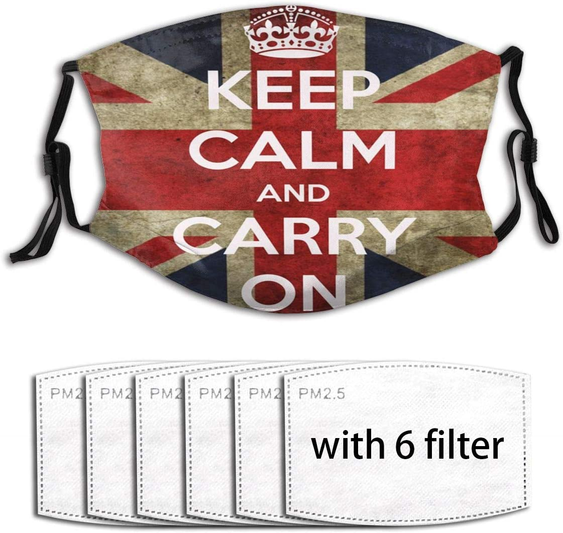 Anti Dust Mouth Protection British Flag Keep Calm Carry On Union Jack Reusable Adjustable Elastic Face Comfortable for Women Men Kids with 6 Filter