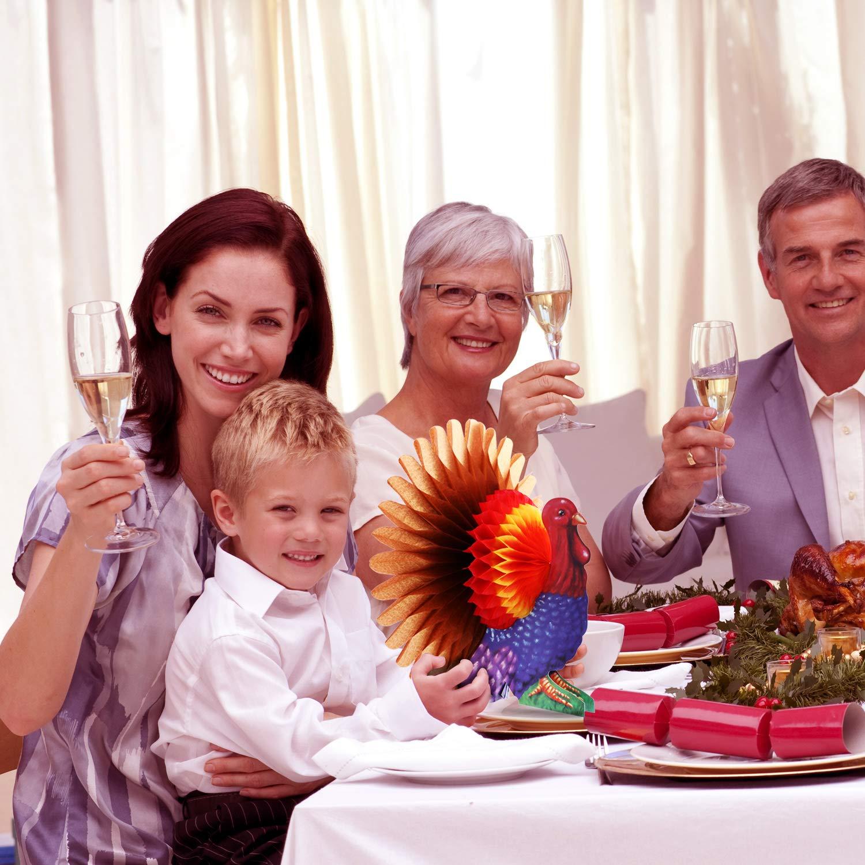 Gejoy 3 Pieces Tissue Turkey Centerpiece Honeycomb Centerpiece Table Decoration for Thanksgiving Party Supplies Decoration