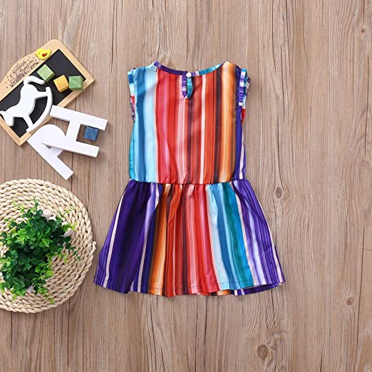 2d730bde976 Amazon.com  Rainbow Colorful Dress One Piece Sundress for Little Girls  Casual Dress Summer Beach Outfits  Clothing