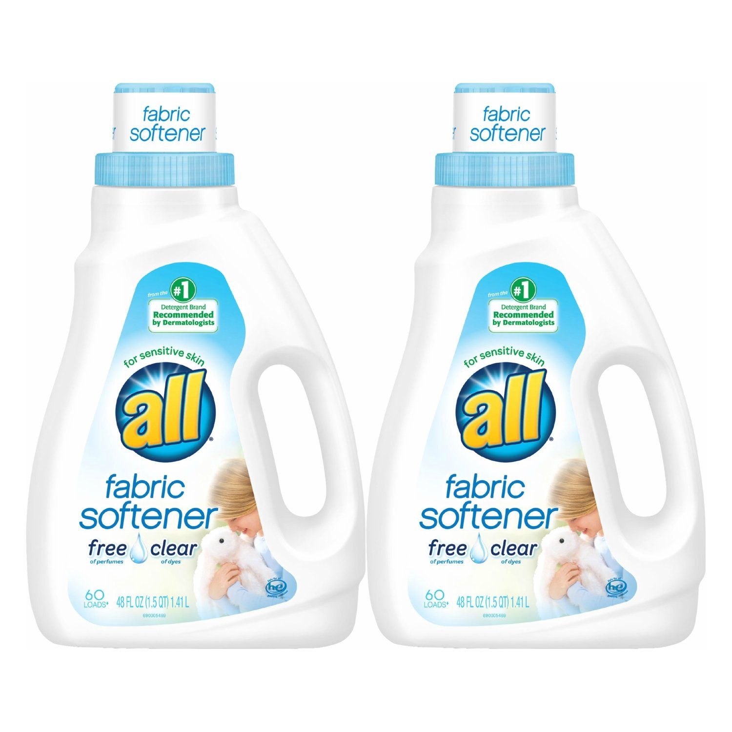 all Liquid Fabric Softener, Free Clear for Sensitive Skin, 48 Fluid Ounces, 60 Loads (Pack of 2)